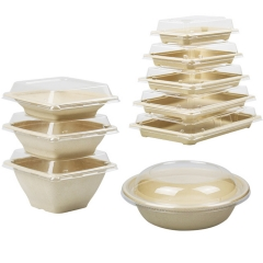 16oz Biodegradable 16oz Bowls With Lid For Disposable Food Packaging Rice