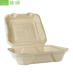 "9"" Clamshell Biodegradable Disposable Sugarcane Corn Starch Bagasse Food Container"