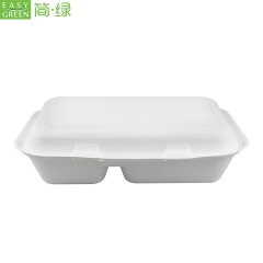 Sugarcane Bagasse/Bamboo Pulp Clamshell Paper Box For Lunch Container