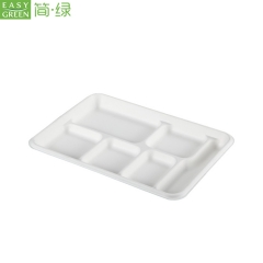6-com Disposable Paper Pulp Takeaway Food Containers Compartment Tray