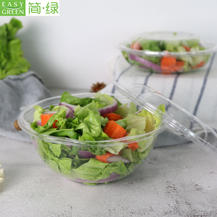 Eco-Friendly Round Salad Bowl To Go For Safety PET Plastic
