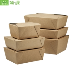 Pk-49 Packaging Kraft Paper Lunch Box For Disposable Food Take Away