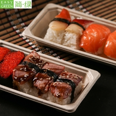 EG-0.4 Disposable Biodegradable Food Tray With Lid For Sushi Meat