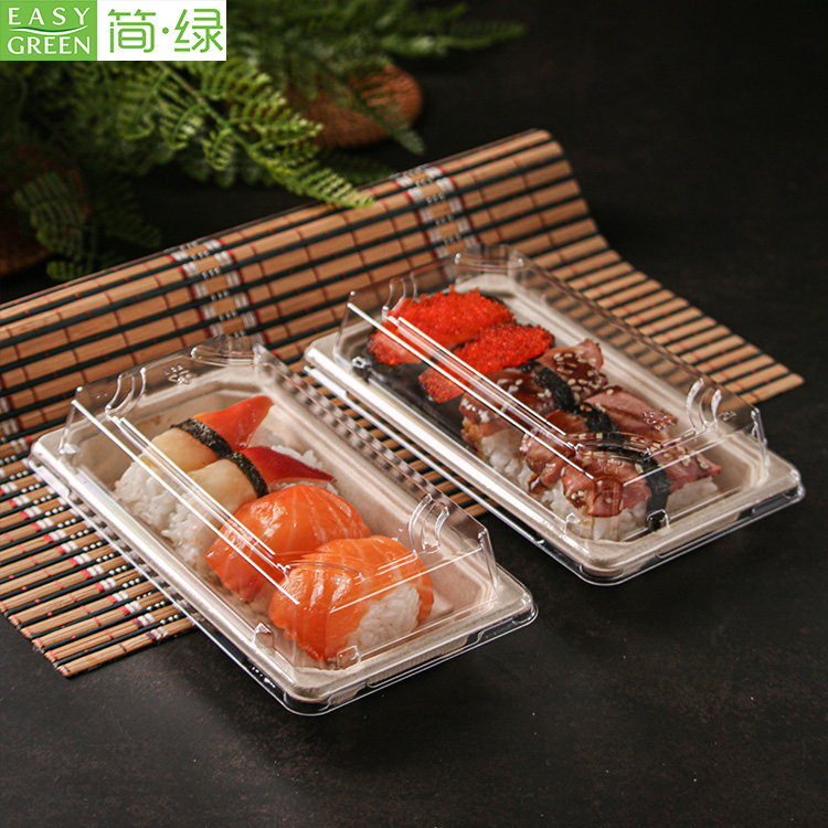Disposable Container Biodegradable Food Packaging Boxes With Plastic Lid For Sushi